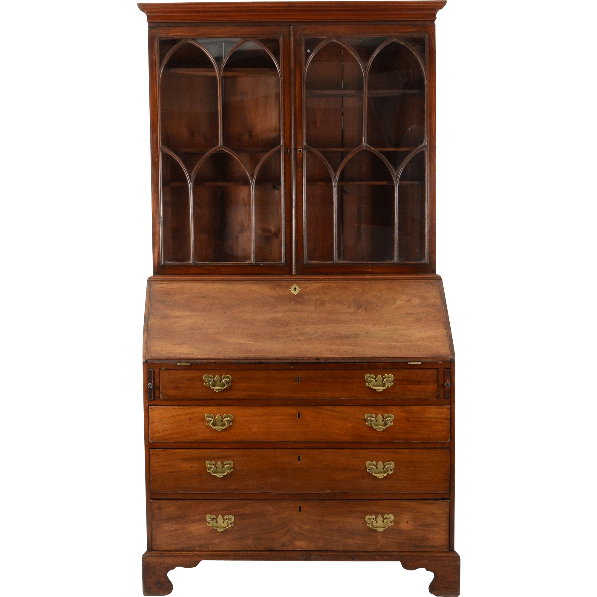 English George III Mahogany Bureau Bookcase