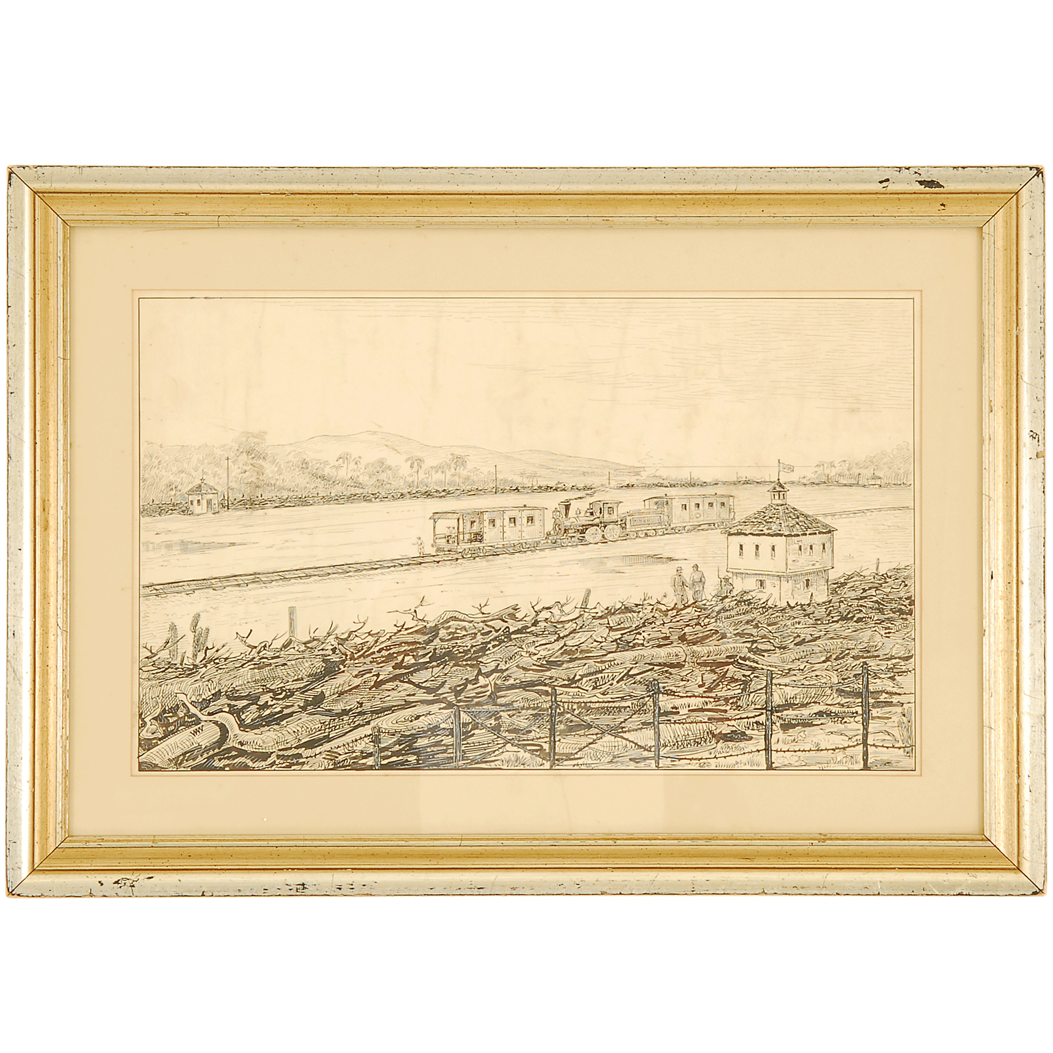 Pen and Ink Sketch of Civil War Scene by William Aiken Walker
