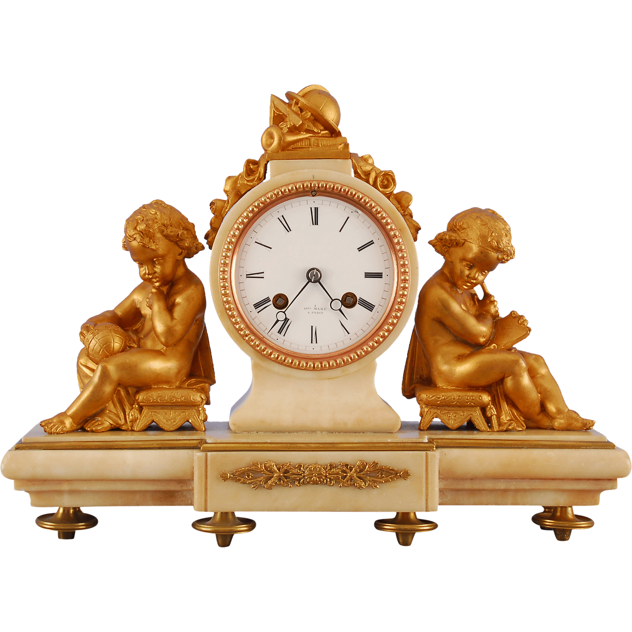 French Shelf Clock White Marble Flanked by Putti Ormolu by Henry Mare