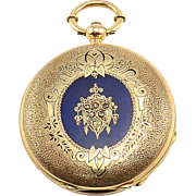 Swiss 18K Gold Pocket Watch Triple Signed by Jules Perrenoud