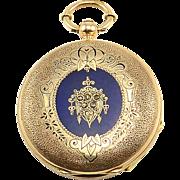 Swiss 18K Gold Pocket Watch Triple Signed by Jules Perrenoud