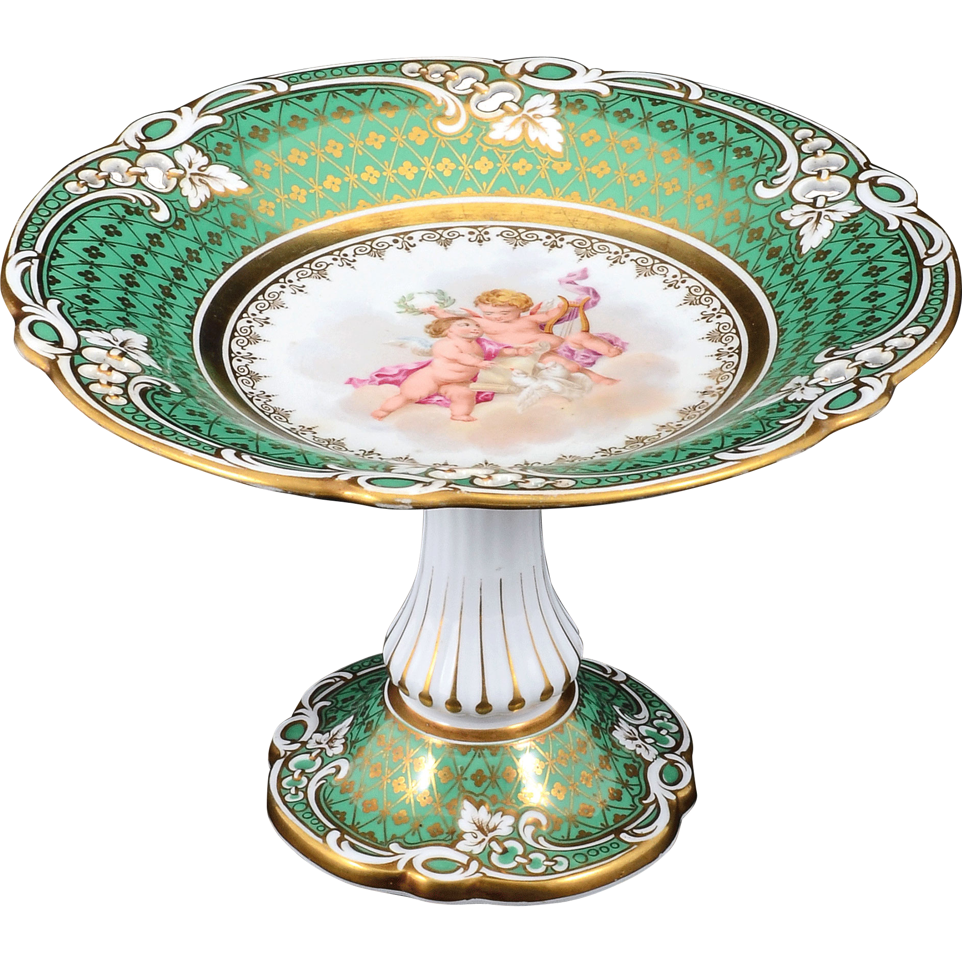 French Hand Painted Porcelain Compote