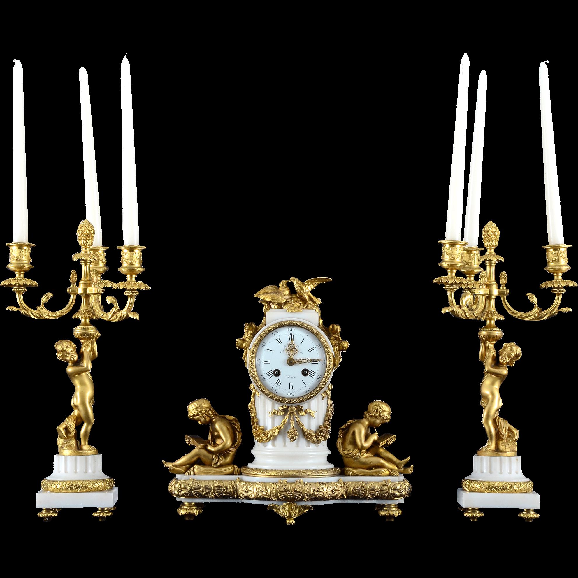 French Three Piece Garniture Clock Set by Jollet & CIE Paris