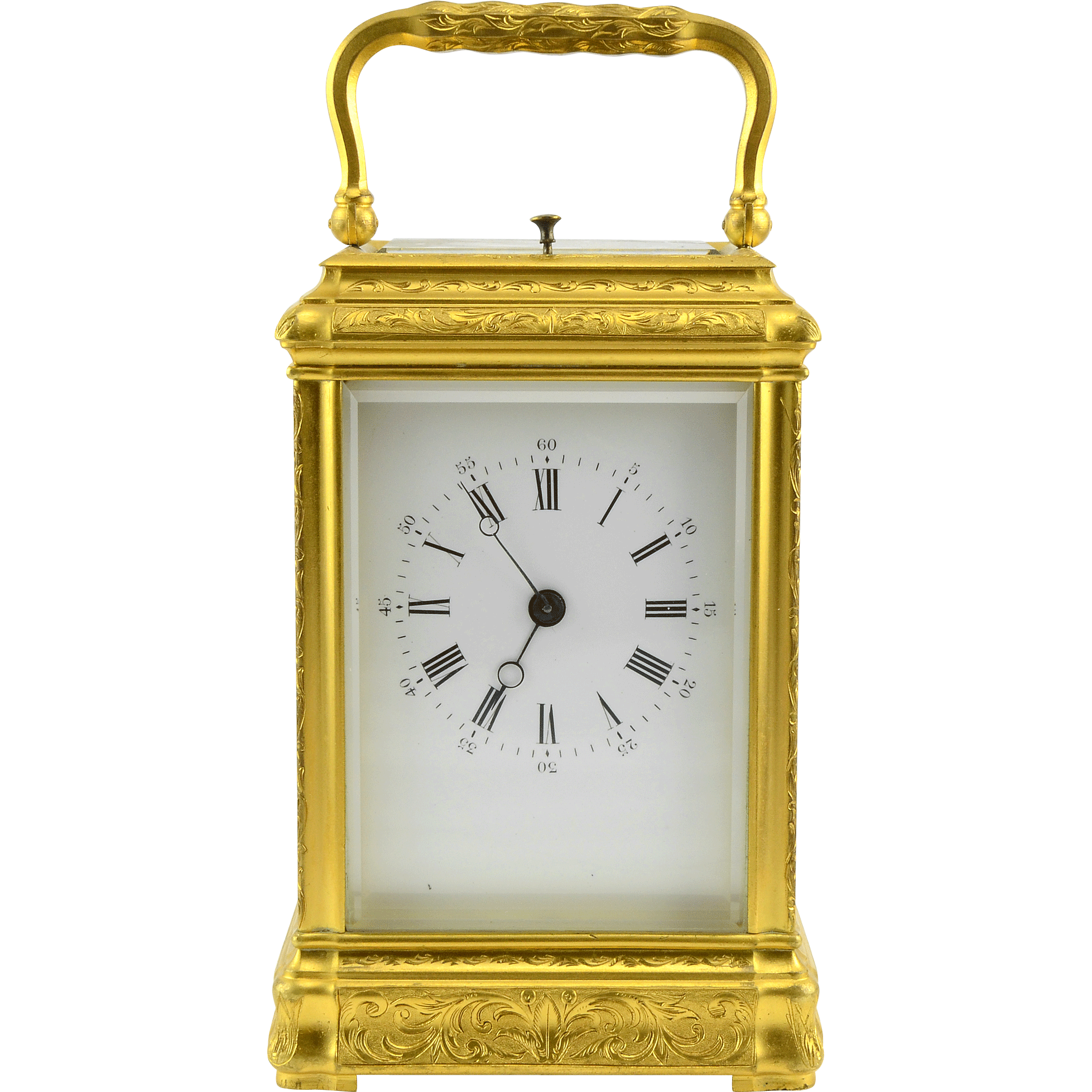 French Carriage Clock in Gilt Gorge Case