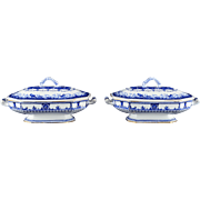 English Pair of Leopold Covered Veggie Bowls by Royal Crown Derby