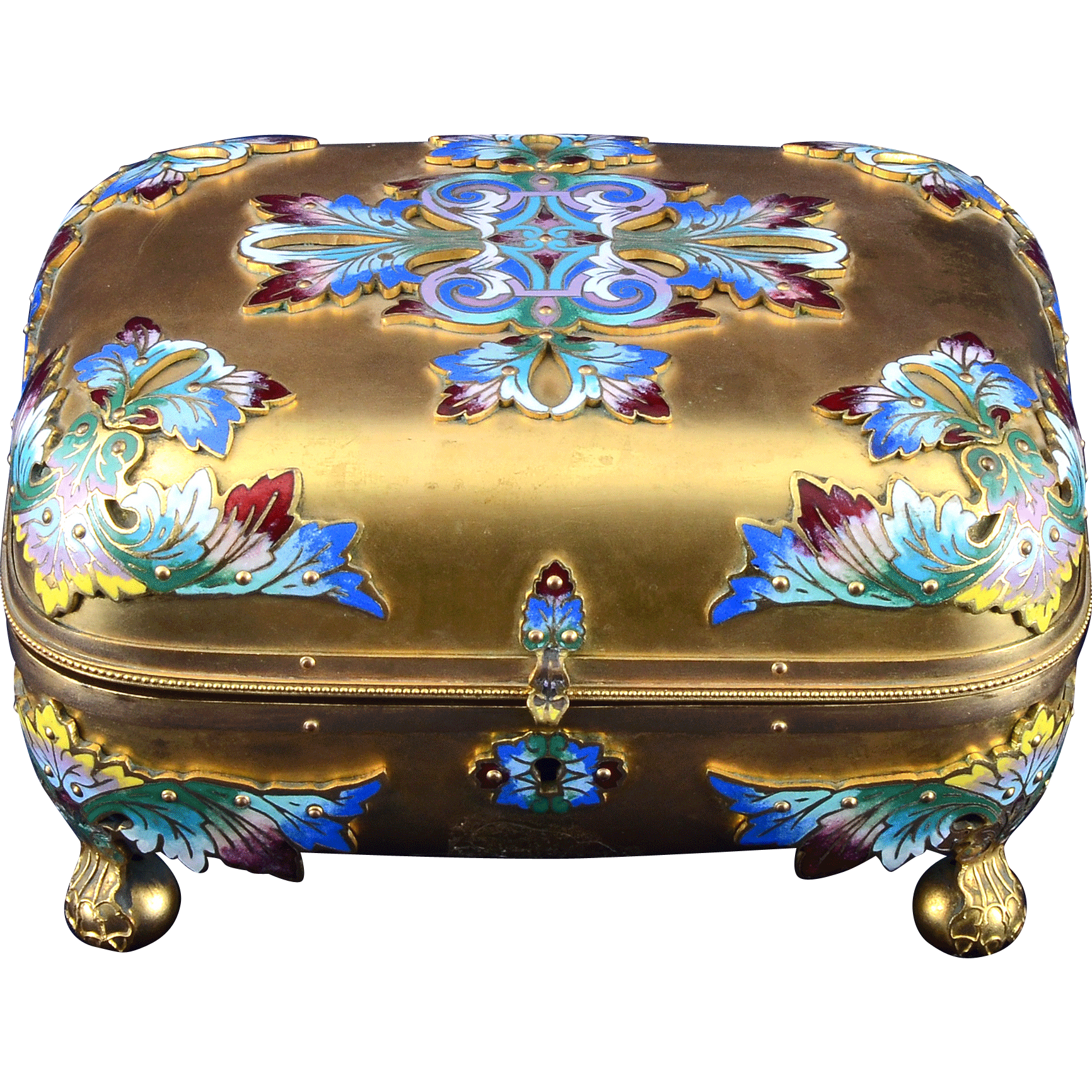 Gold Gilt and Enamel Vanity Box With Matching Perfume Bottles