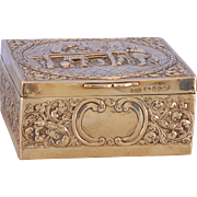 English George III Sterling Silver Repousse Box by Edward Fairdruther