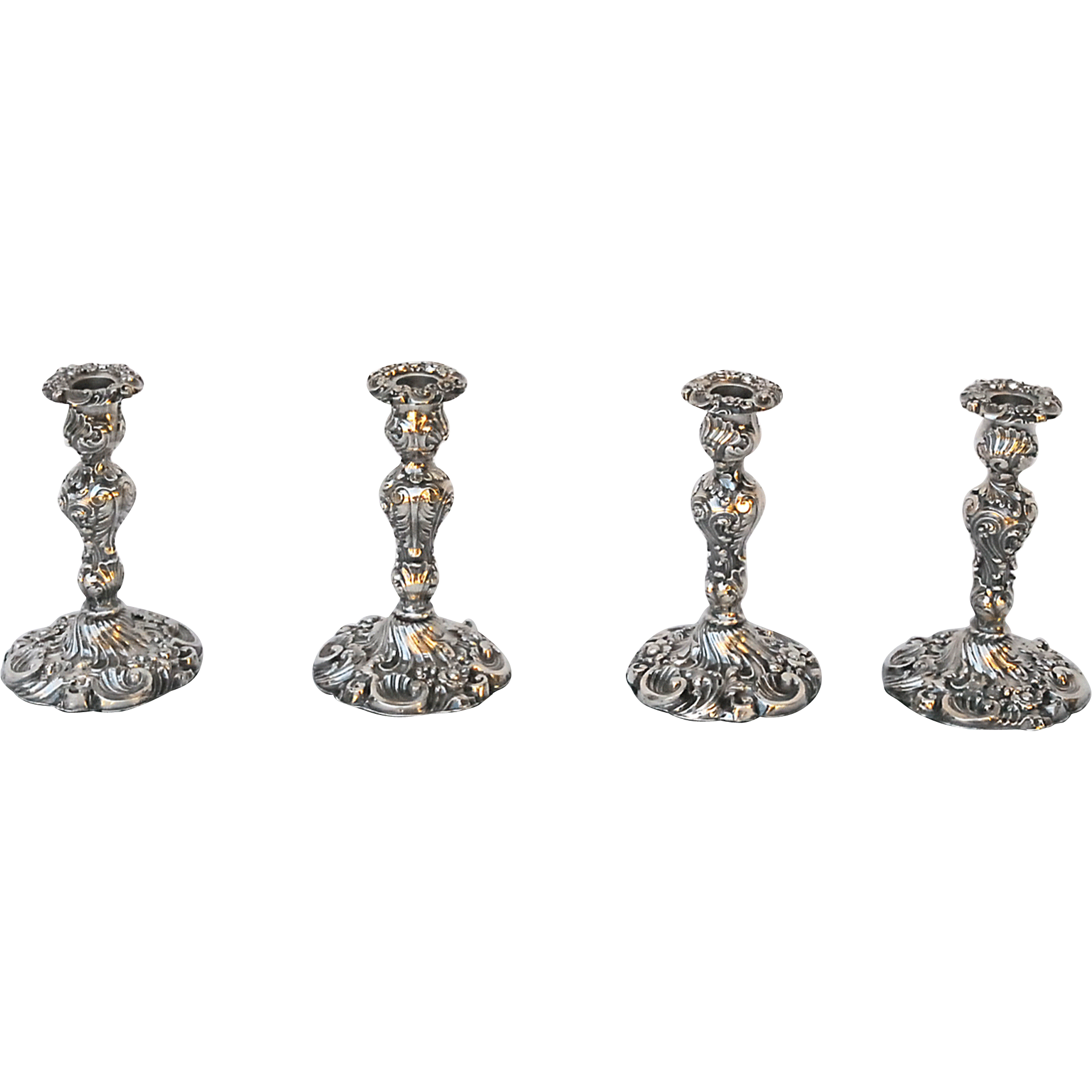 Set of Four George IV Sterling Candlesticks