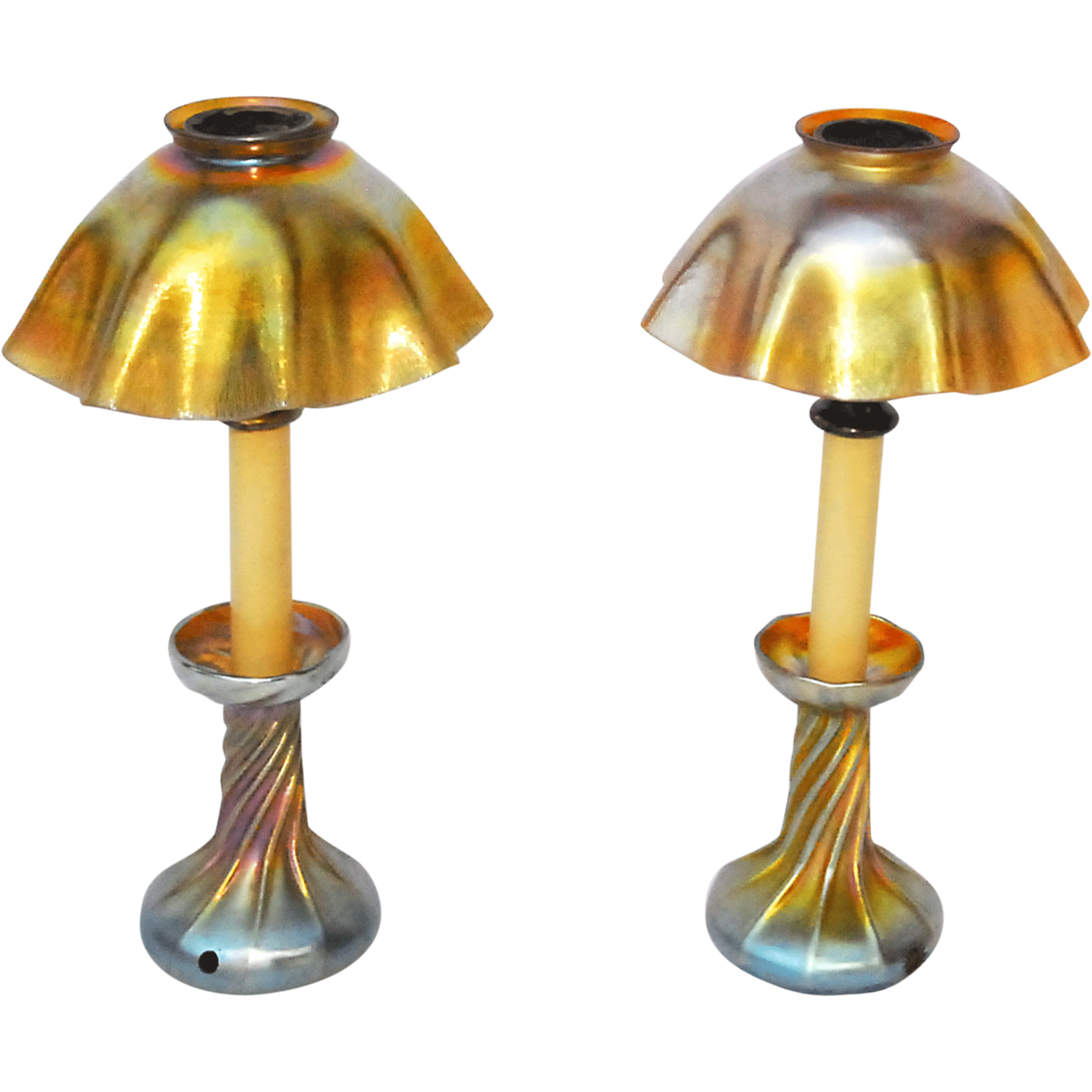 Pair of Art Glass Candlestick Lamps Signed LCT, Louis Comfort Tiffany