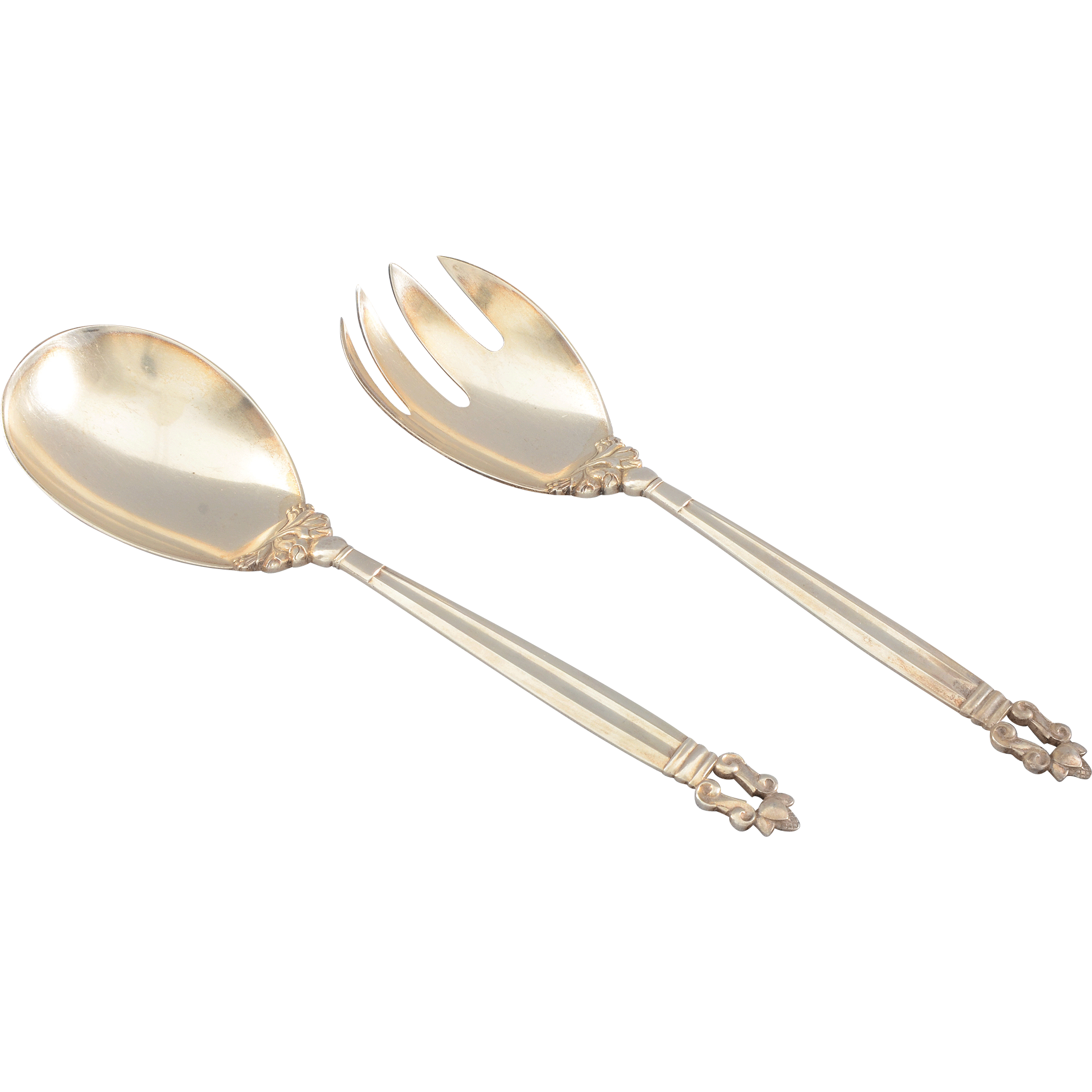 Danish Two Piece Sterling Salad Set by Georg Jensen