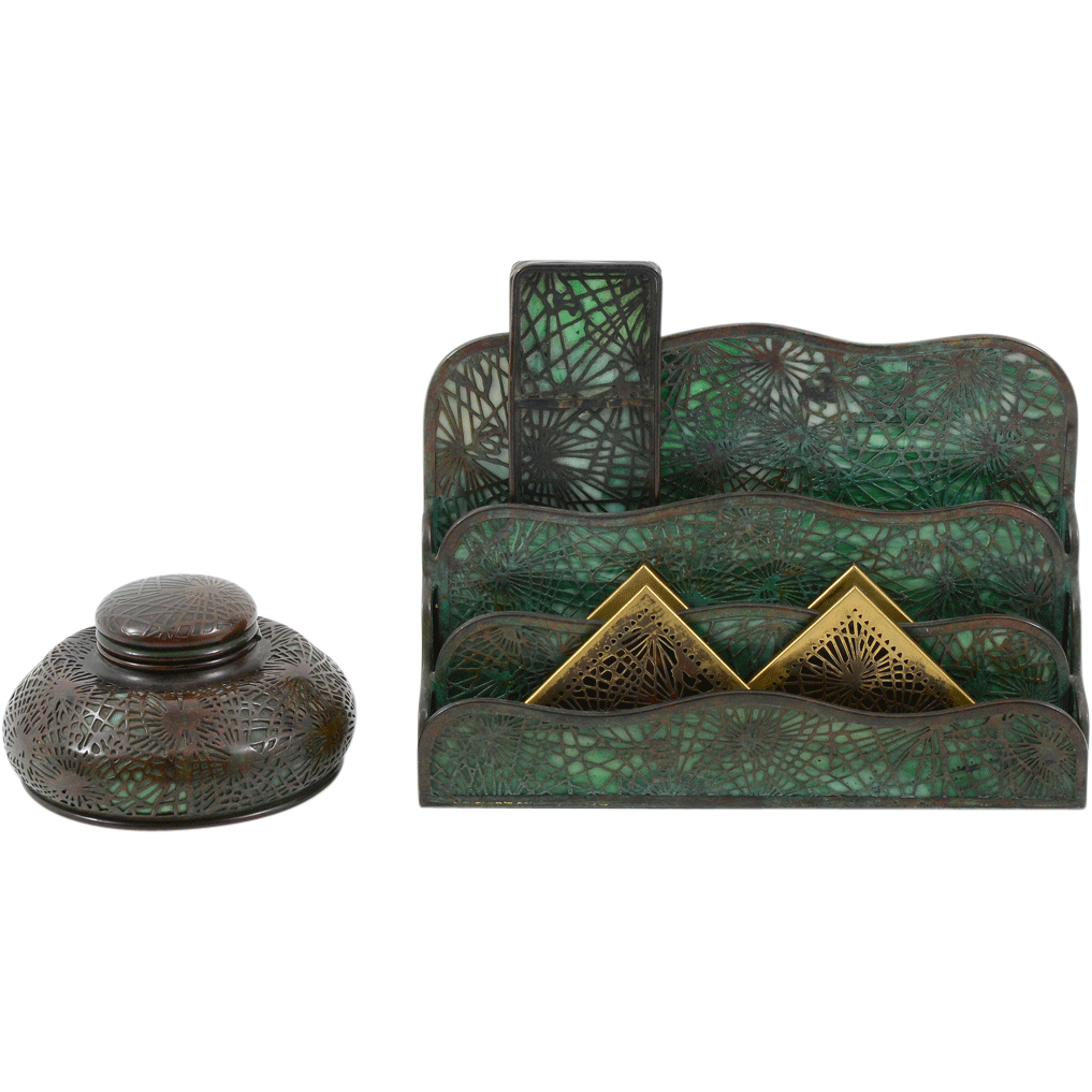 American Three Piece Desk Set by Tiffany Studios NY