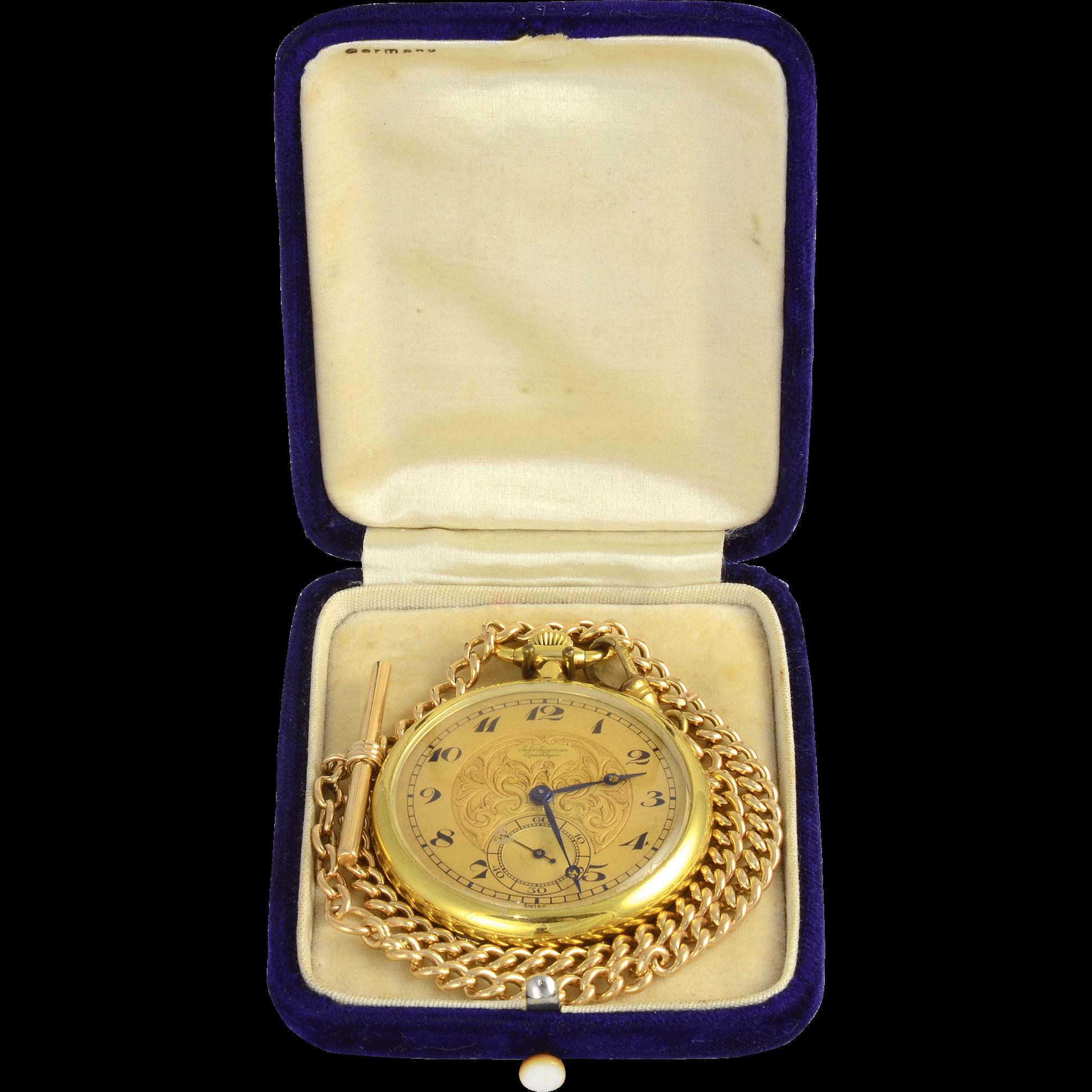 Swiss 18K Yellow Gold Pocket Watch and Chain by Jules Jurgensen