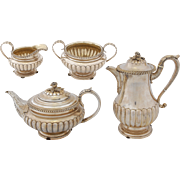 Four Piece Georgian Sterling Silver Tea Set by Charles Fox