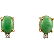 Natural Jade and Diamond Earrings
