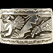 Robert Becenti Jr Navajo Sterling Silver Kachina Bracelet
