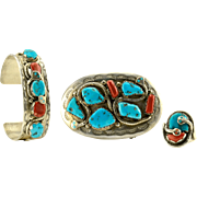 Effie Calavaza Coral and Turquoise Ring, Bracelet and Belt Buckle Set