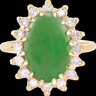 Oval Jade and Diamond Ring