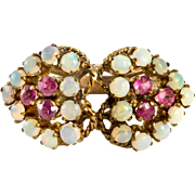 Opal and Ruby Double Heart Ring