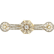 Platinum and Gold Pin with Diamonds and Pearls