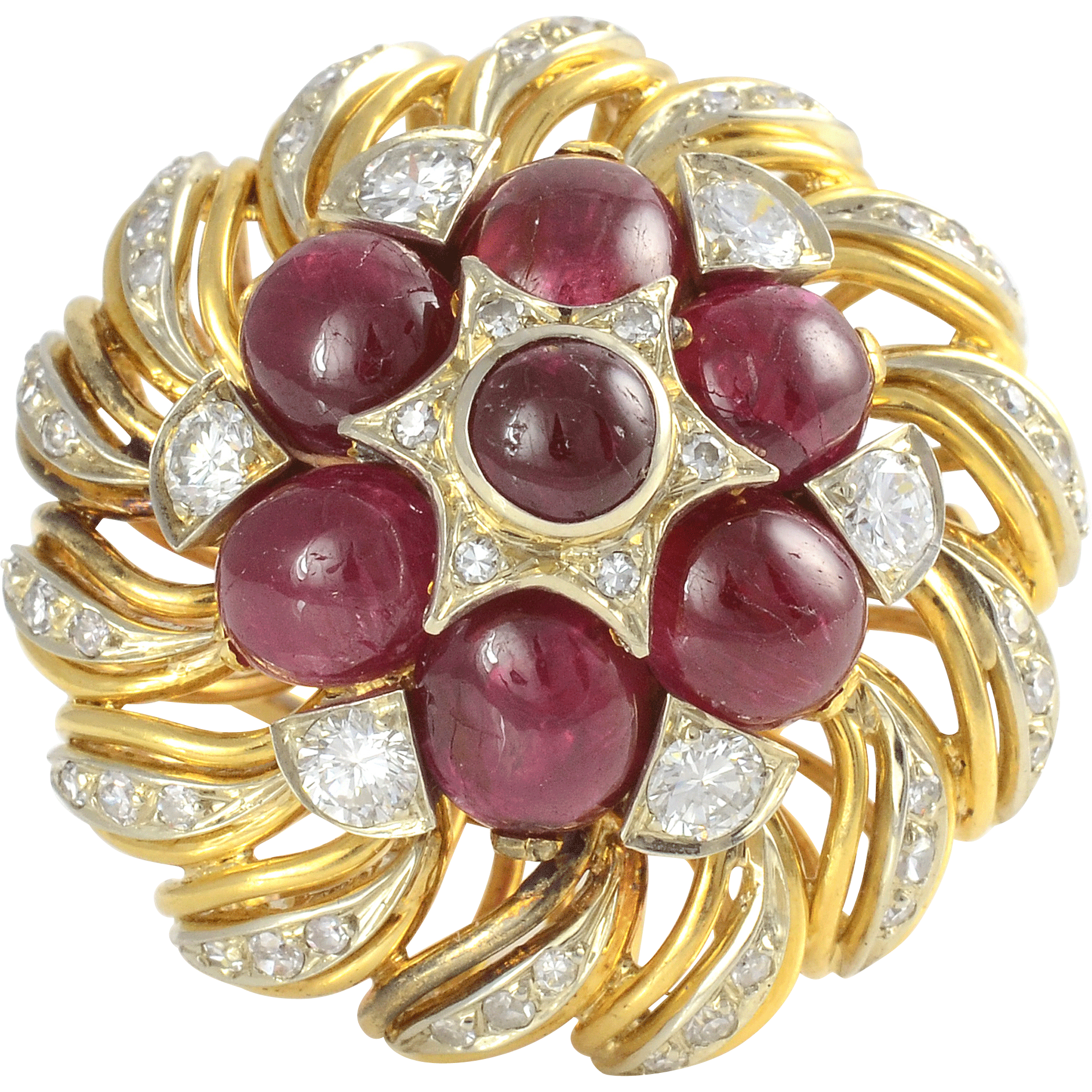 French Ruby and Diamond Fashion Ring