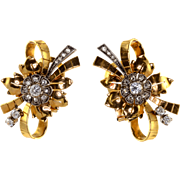 Diamond 18K Gold Retro Earrings