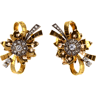 Diamond 18K Gold Retro Earrings