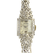 Ladies White Gold and Diamond Wrist Watch Marked Hallmark