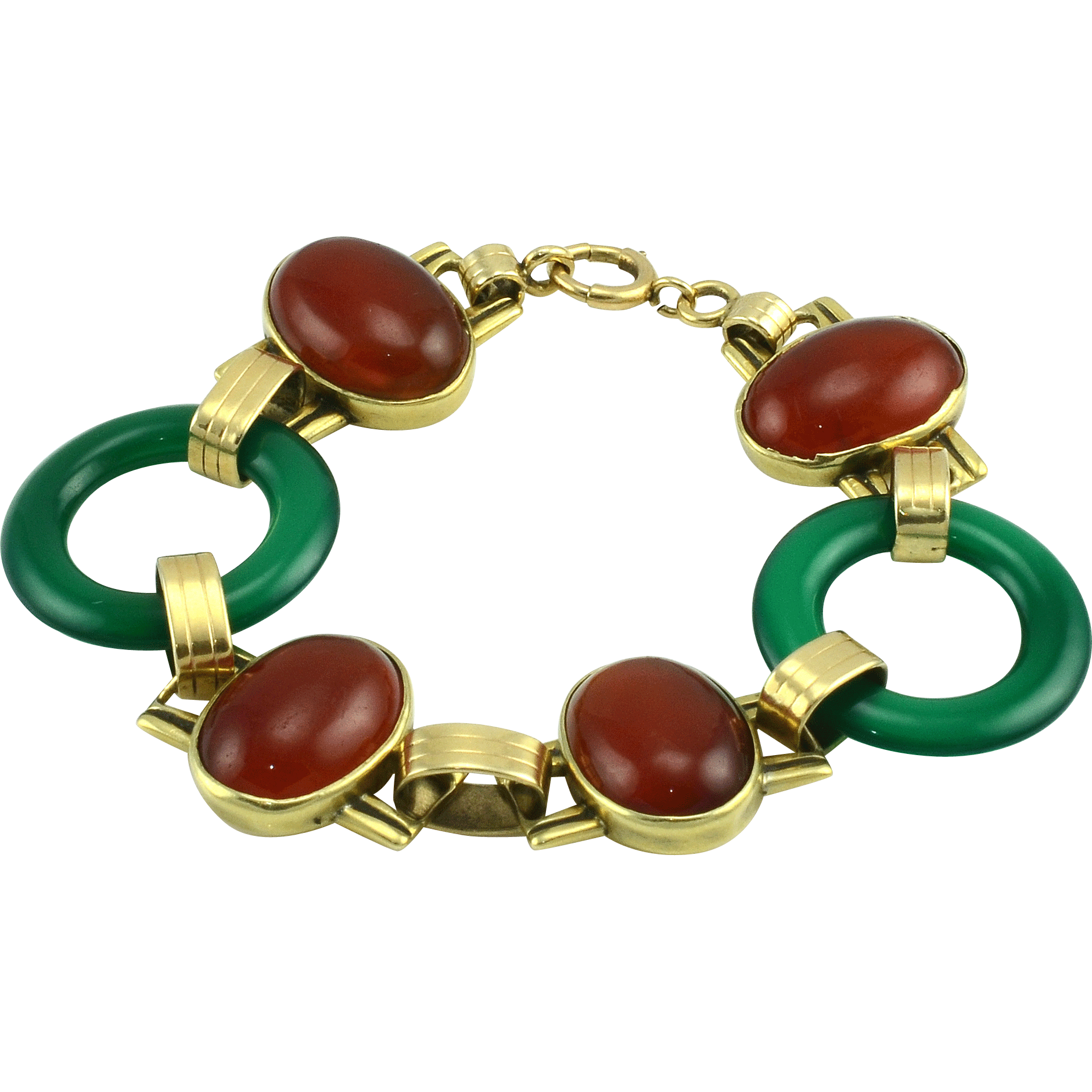 Yellow Gold Carnelian and Chrysoprase Bracelet