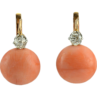18 Karat Gold Coral and Diamond Earrings