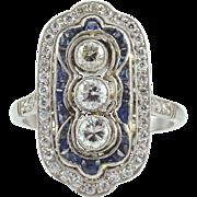 Platinum Art Deco Ring With Center Diamonds and Sapphires
