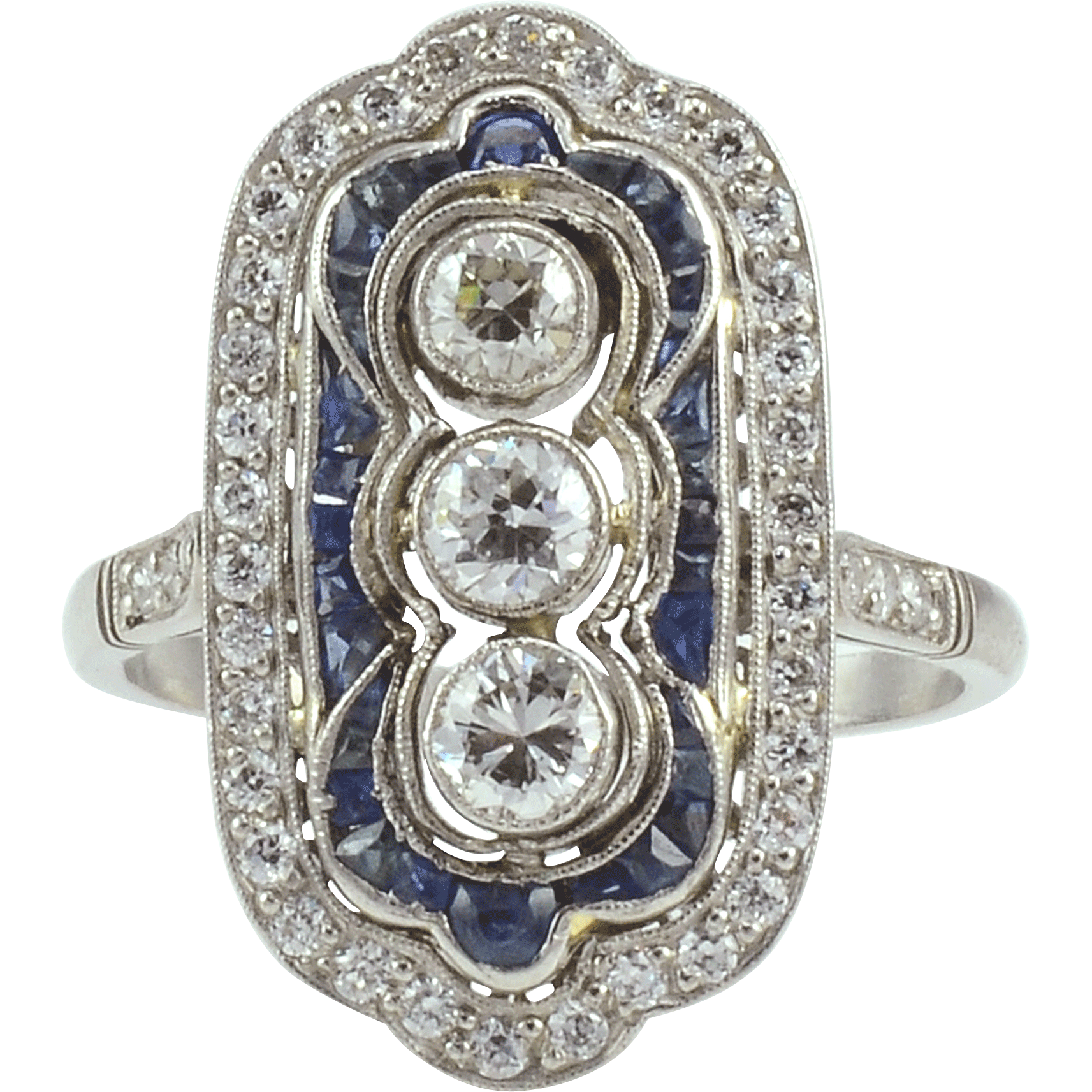 Platinum Art Deco Ring With Center Diamonds and Sapphires