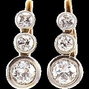 2.5 CTW 18K Gold and Platinum Edwardian Diamond Earrings