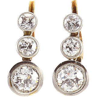 2.5 CTW 18K Gold and Platinum Edwardian Diamond Earrings
