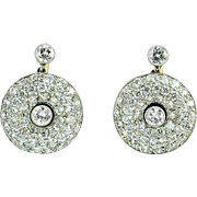 Platinum 2.46 CTW Diamond Circular Earrings