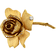18 Karat Yellow Gold Rose Shaped Diamond Brooch