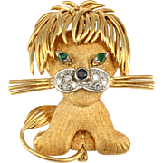 18 Karat Yellow Gold Whimsical Lion Brooch