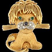 18 Karat Yellow Gold Whimsical Lion Brooch