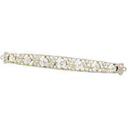 Platinum and 18K White Gold Edwardian Diamond Pin