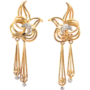 18 Karat Gold Retro Diamond Dangle Earrings