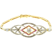 Platinum and 14K Yellow Gold Ruby and Diamond Bracelet