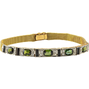 Platinum and 18K Gold Peridot and Onyx Bracelet