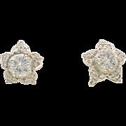 Platinum Star Shaped Diamond Earrings
