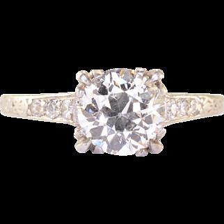 1.05 Carat Center Diamond Platinum Engagement Ring