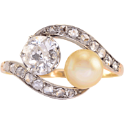 0.54 Carat Diamond and Pearl 18K Gold and Platinum Ring