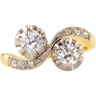Two Center Diamond 18K & Platinum Ring