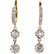 1.78 CTW Diamond Platinum and 18K Gold Earrings