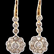1.75 CTW Diamond 18K Gold Floral Drop Earrings