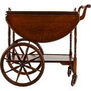 English Oak Tea Cart With Serving Tray