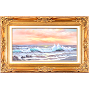 American Oil Painting Seascape With Waves by Joe Cota