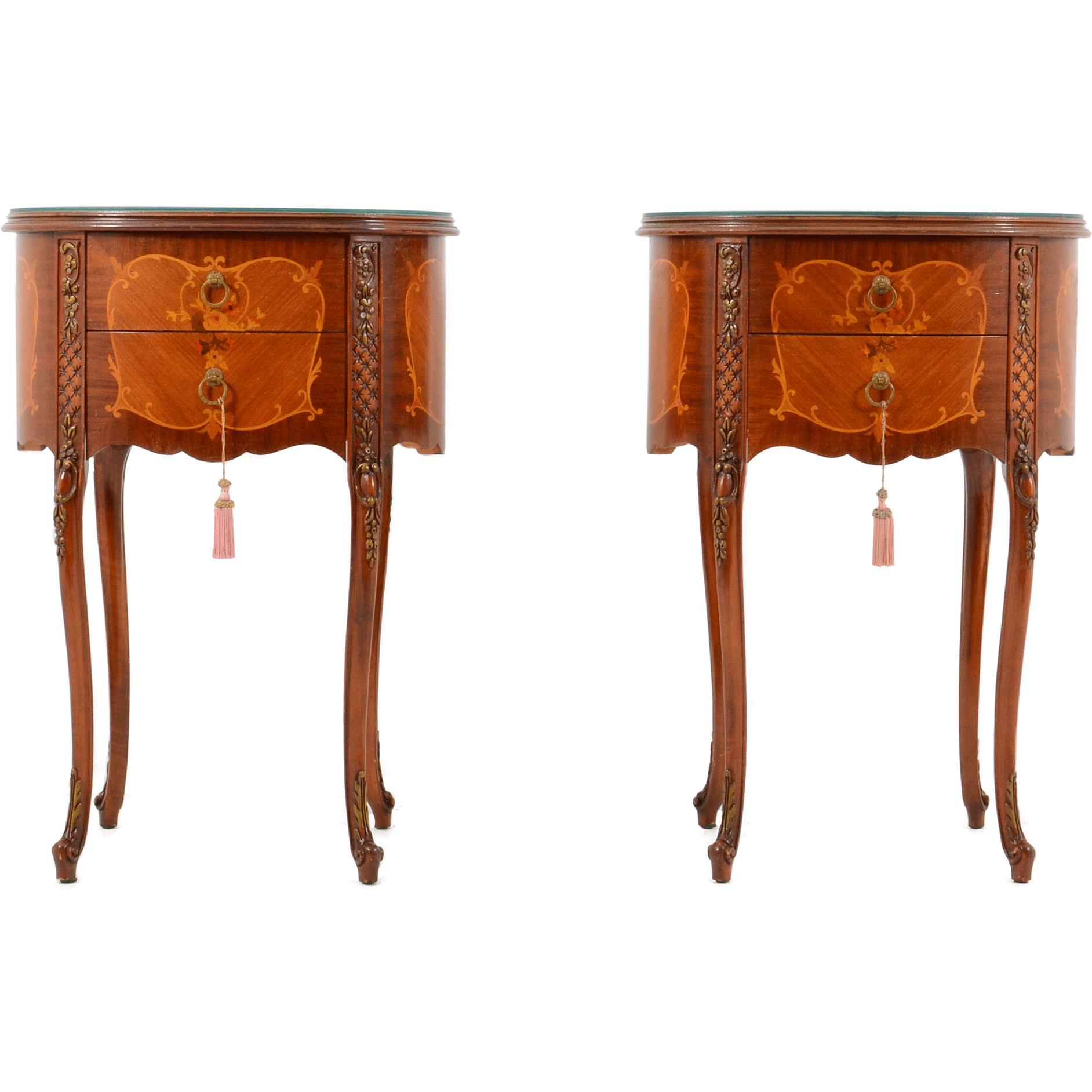 French Pair of Oval Mahogany End Tables